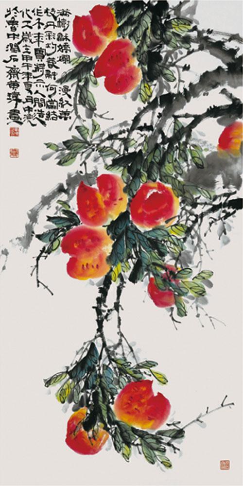 李晓明的工笔寿桃仙鹤牡丹图